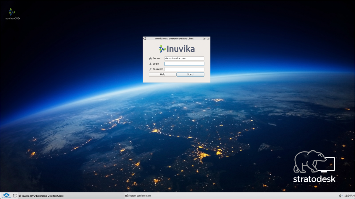 Inuvika OVD Enterprise Desktop Client running on Clearcube Raspberry Pi with Stratodesk NoTouch OS